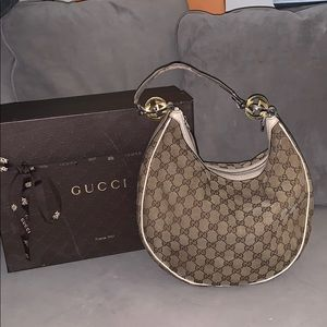 GUCCI BEIGE/IVORY GG CANVAS GG TWINS MED HOBO